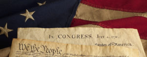 Declaration of Independence and US Flag